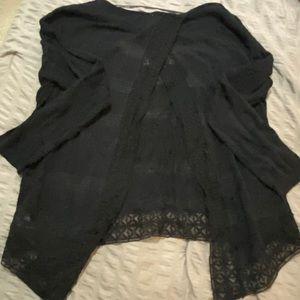 Free People Black 3/4 Sleeve Blouse